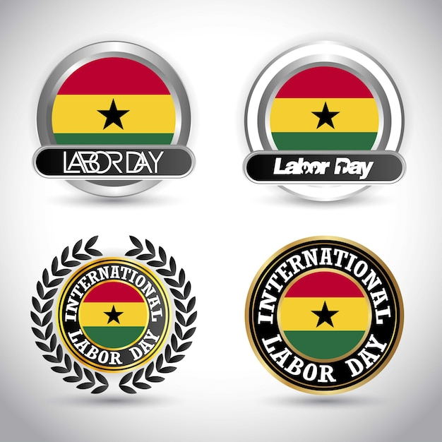 Ghana flag with labour day design vector Premium Vector