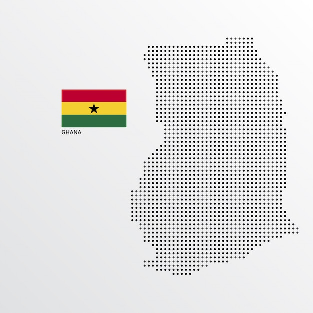 Ghana map design with flag and light background vector Free Vector