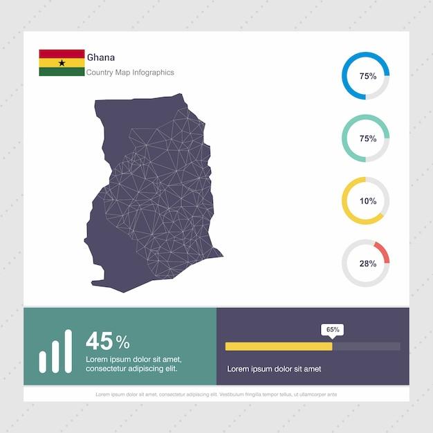 Ghana map & flag infographics template Premium Vector
