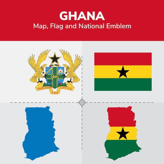 Ghana map, flag and national emblem Premium Vector