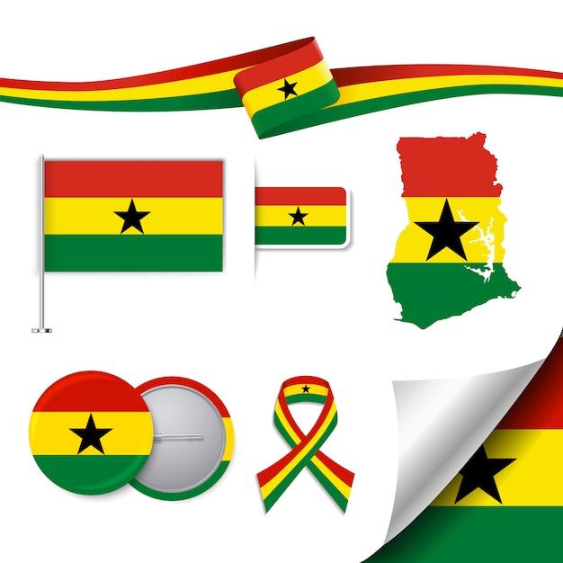 Ghana representative elements collection Free Vector
