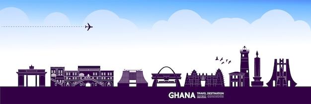Ghana travel destination grand illustration Premium Vector