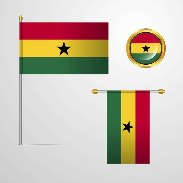 Ghana waving flag design with badge vector Premium Vector