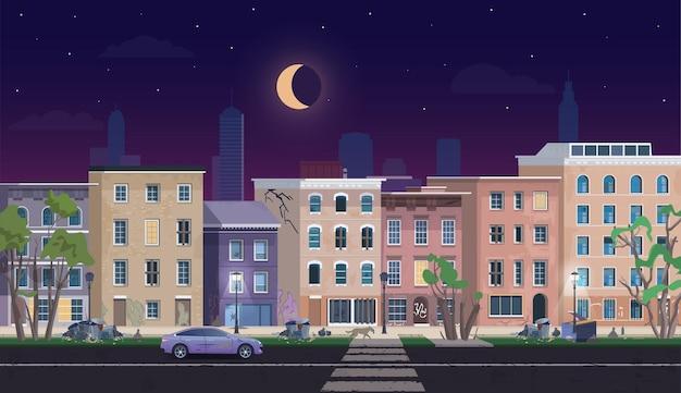 夜のゲットーの風景、汚いシャンティハウスは不利な放棄された住宅地 Premiumベクター