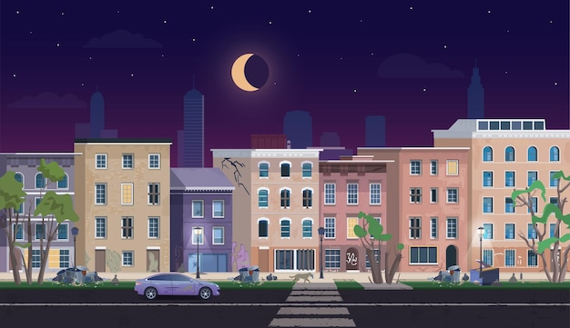 Ghetto landscape at night, dirty shanty houses unfavorable abandoned residential area Premium Vector