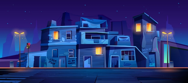 Ghetto street at night, slum abandoned houses Free Vector