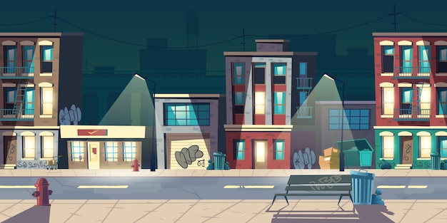 Ghetto street at night, slum houses, old buildings with glow windows and graffiti on walls. dilapidated dwellings stand on roadside with lamps, fire hydrants, litter bins cartoon vector illustration Free Vector