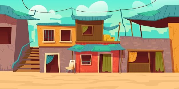 가난한 더러운 집, 오두막집이있는 빈민가 거리 무료 벡터