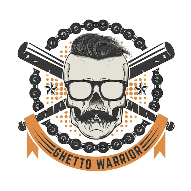 ゲットーの戦士。口ひげとサングラスの頭蓋骨。 tシャツプリント、ポスターテンプレートの要素。図。 Premiumベクター