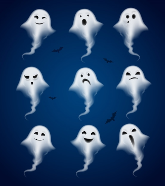 Ghost emotions realistic icons set Free Vector