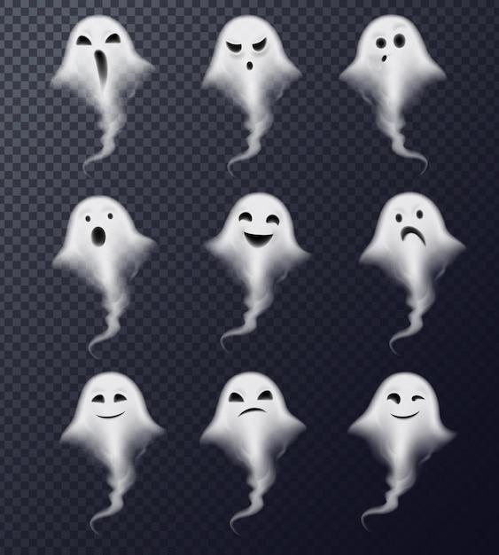 Призрачное изображение паровой паровой дым реалистичные жуткие эмоции коллекция икон против темного прозрачного Бесплатные векторы