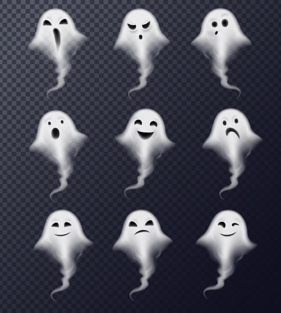 Ghost image of vapor steam smoke realistic spooky emotions icons collection against dark transparent Free Vector