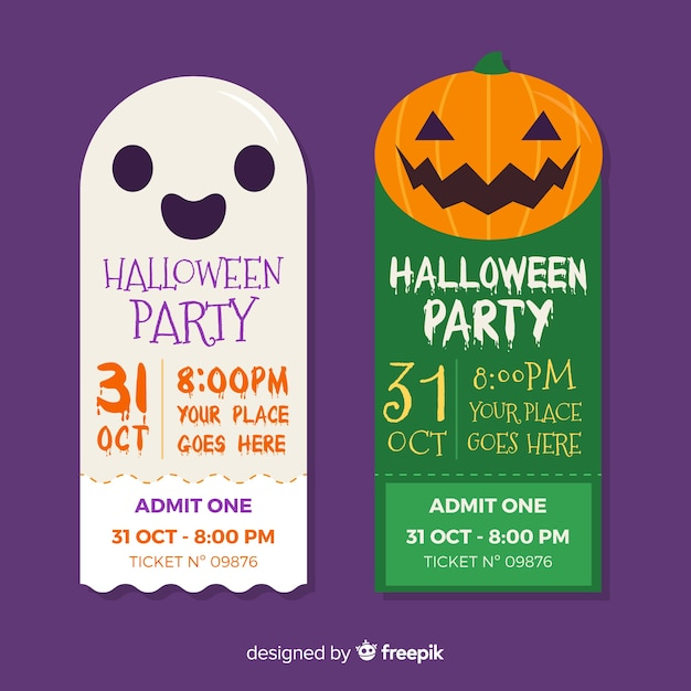 Ghost and pumpkin faces halloween tickets Free Vector