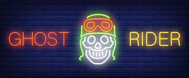 Ghost rider neon text with skull in helmet and goggles Free Vector
