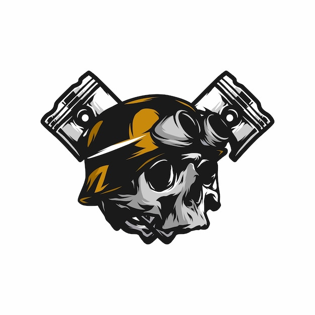 Ghost Rider Skull Road Biker Vector Mascot Illustration Vector