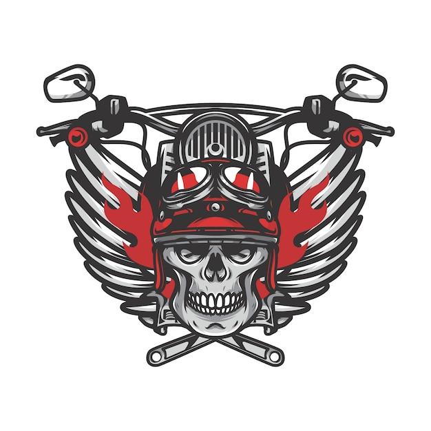 Ghost rider skull road biker vector mascot illustration Premium Vector