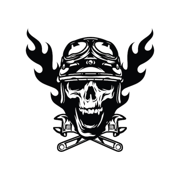 Ghost rider skull road biker vector mascot illustration premium vector