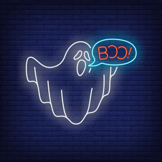 Ghost saying boo neon sign Free Vector