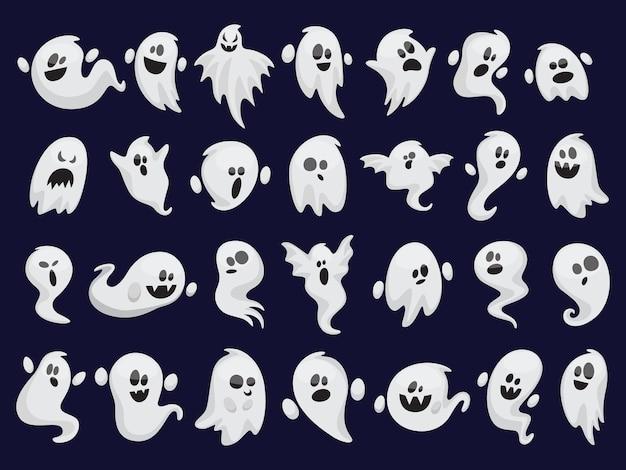 Ghost set. spooky halloween silhouette. horror costume Premium Vector
