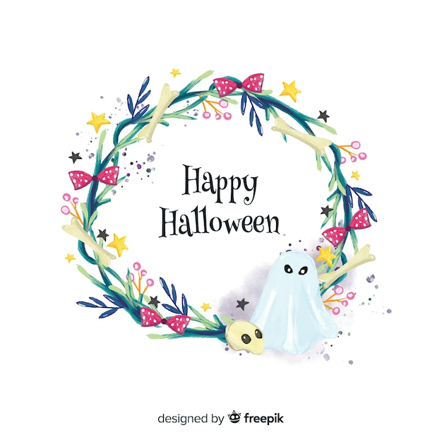 Ghost watercolor halloween background Free Vector