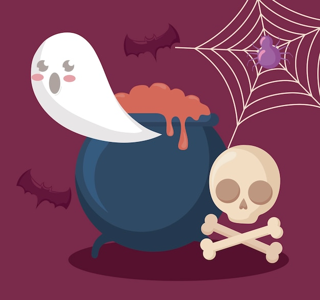 Ghost with cauldron and icons halloween Free Vector