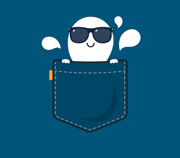A ghost with shade behind the pocket Premium Vector