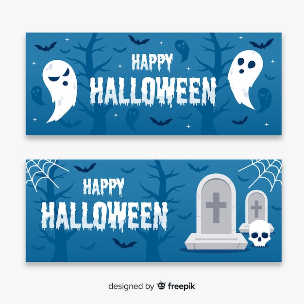 Ghosts and dead flat halloween banners Free Vector
