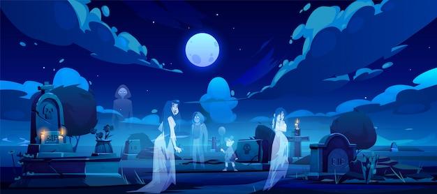 Призраки на кладбище, старое кладбище в темную ночь Бесплатные векторы