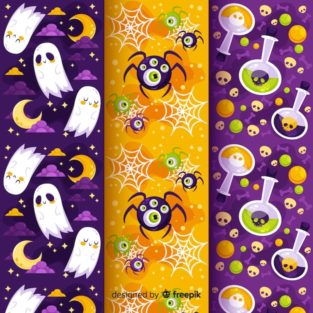 Ghosts and poison flat halloween pattern collection Free Vector