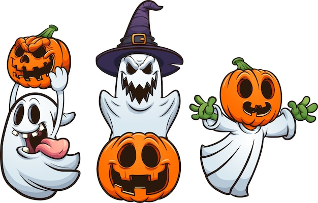 Ghosts and pumpkins Premium Vector