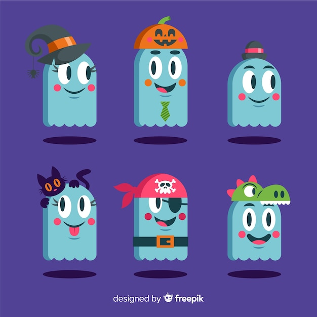 Ghosts wearing costumes for halloween Free Vector