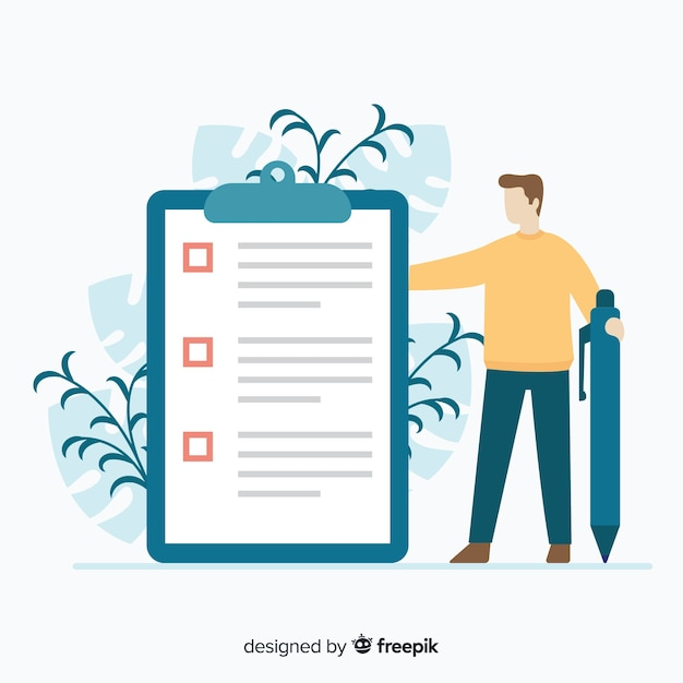 Giant check list illustration Free Vector