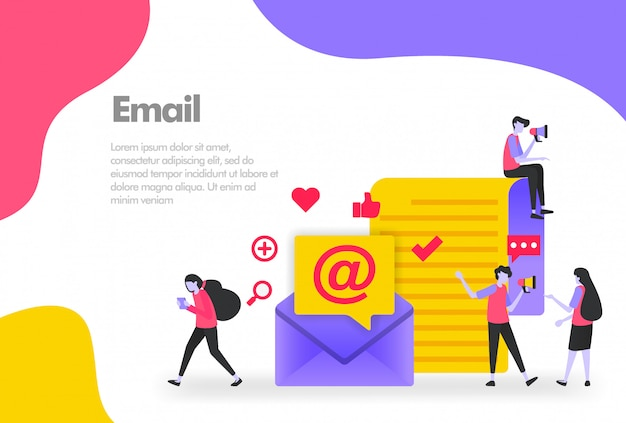 Giant envelope with people who are interacting banner Premium Vector