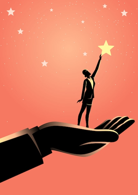 Premium Vector | Giant hand helping a business woman to reach out for the  stars