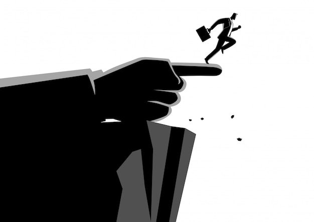 Giant hand pointing to the wrong way to a businessman Premium Vector