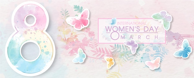 Giant of number 8 with colorful butterfly flying and wording of women's day event on white paper pattern and plant colorful background. Premium Vector