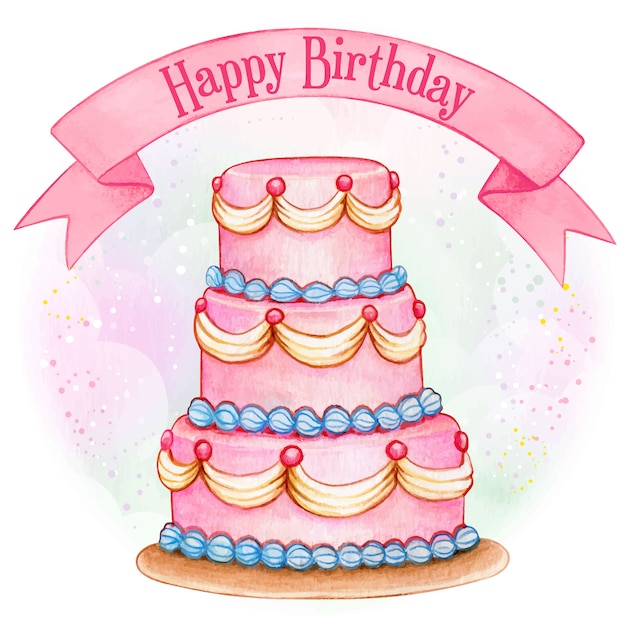 Terrific Giant Pink Watercolor Birthday Cake Premium Vector Funny Birthday Cards Online Fluifree Goldxyz