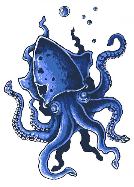 Giant squid tentacle octopus vector illustration Premium Vector