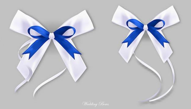 Gift blue white silk bows Premium Vector
