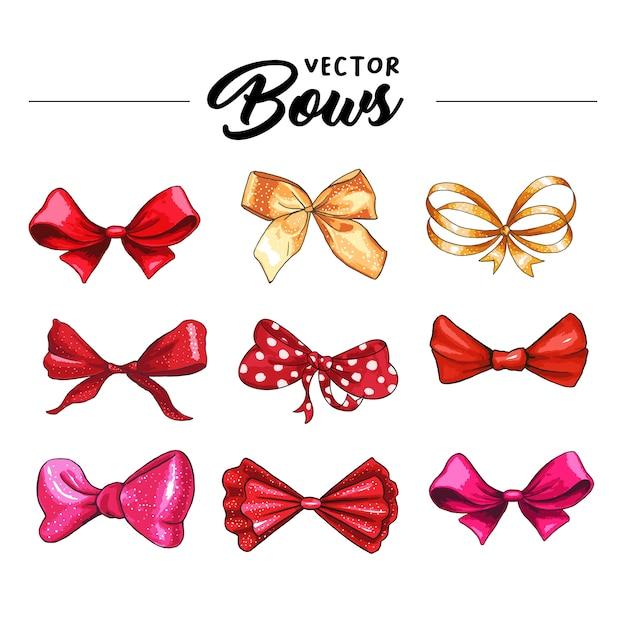 Gift bow hand drawn vector illustrations set Free Vector