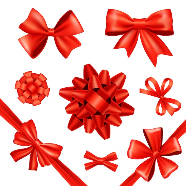 Gift bows and ribbons Free Vector