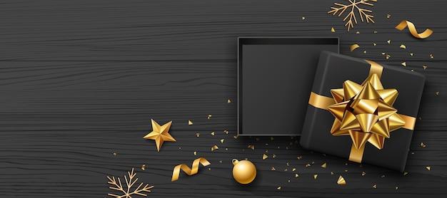 선물 상자와 금 활 리본 프리미엄 벡터