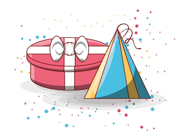 Gift box and birthday hat icon Premium Vector