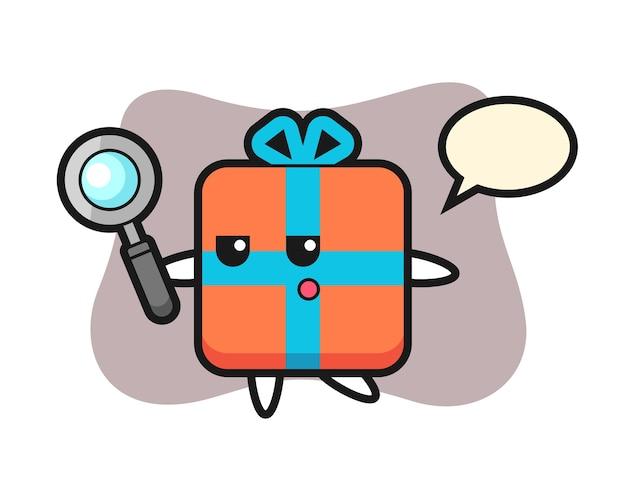 Подарочная коробка мультяшный персонаж ищет с увеличительным стеклом Premium векторы