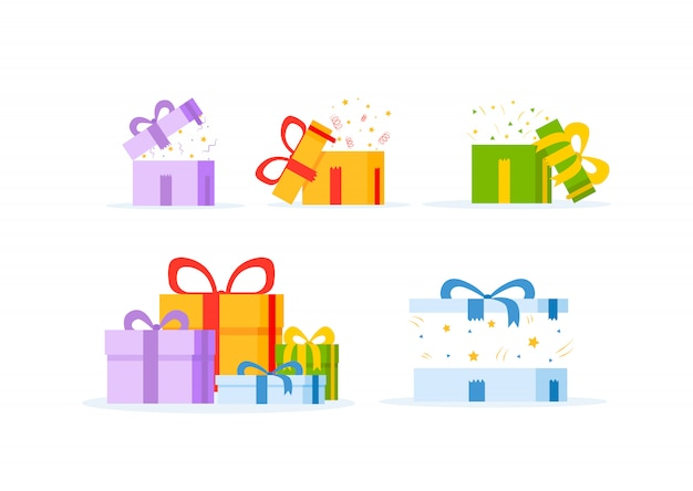 Gift box isolated on white background. Premium Vector