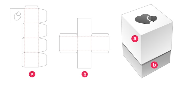 Gift box and lid which have hearts window die cut template Premium Vector