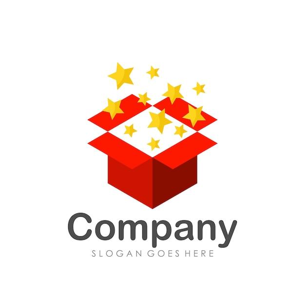 Gift box logo design template Premium Vector