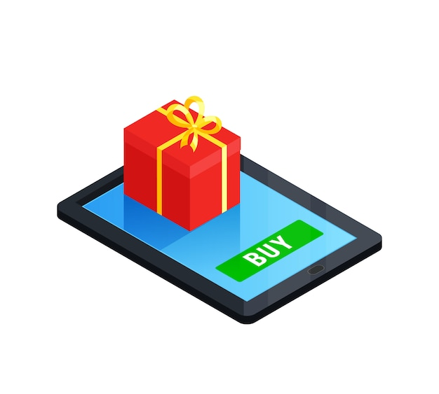Gift box online concept Free Vector