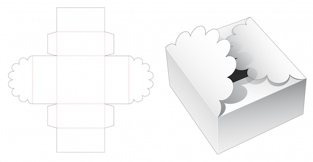 Gift box packaging die cut template Premium Vector