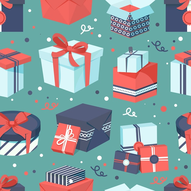 Gift box pattern background Free Vector